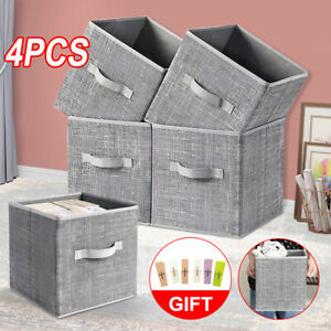 4PCS Folding Non-Woven Clothes Storage Collapsible Foldable Box Cube Basket Bag