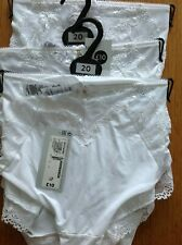 MIDI KNICKERS SIZE 20 M&S 3 PAIR WHITE WITH SOME LACE ON THE FRONT & BACK OF LEG