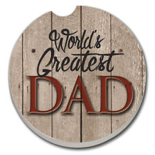 SET OF 2 - Absorbent Car Coasters- WORLD'S GREATEST DAD-  New!  FREE SHIPPING!