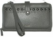 THE SAK Grey Leather  Zip-Around Smartphone Crossbody Wallet Purse Wristlet NWT