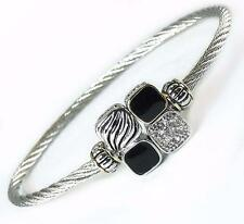 Pave Crystal Magnetic Bangle Bracelet Black Silver Gold Cable Wire Women Jewelry