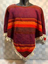Vintage CAROLE SUE Red Orange Women's Poncho Sweater
