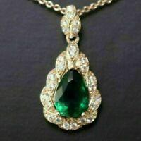 Emerald Green Teardrop Diamond Halo Pendant Necklace Gold Plated Jewelry