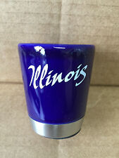 Illinois Shot Glass, Ceramic, Stainless Steel Base, HIGH QUALITY! LOT OF 12