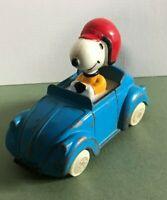 RACING SNOOPY RED HELMET IN BLUE CAR BY ESCI  OLD DIECAST VINTAGE TV SERIES