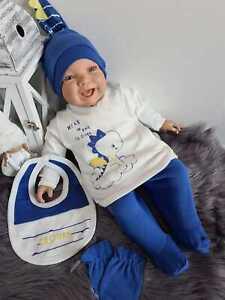 NEU! Baby Set Erstausstattung Dino Neugeborenes Blau Jungen 5 Teile Süß 50 56