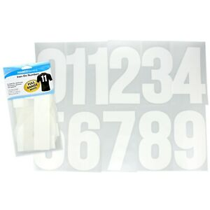 Iron On Numbers 11pc Set 20cm White