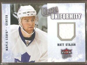 2008-09 Fleer Ultra #UA-SM Matt Stajan Toronto Maple Leafs Game Used Jersey NrMt