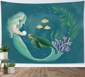 Magic Fairy Sea Turtle Mermaid Tapestry Wall Hanging For Living Room Bedroom