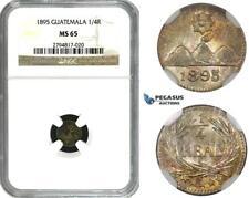 ZM637, Guatemala, 1/4 Real 1895, Silver, NGC MS65