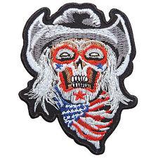 Skull Skeleton USA Flag Horror Ghost Cowboy Rider Biker Iron-On Patches #SK050