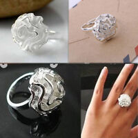 Lady Women Fashion Big Flower Rose Section Rings Adjustable Ring Jewelry