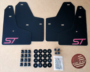 [SR] 11-18 Ford FOCUS ST SE S Mud Guard Flaps Set BLACK w/ Logo & Hardware Kit