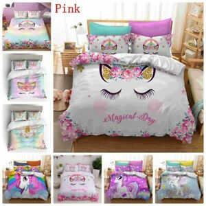 Children Bedding Sets Gifts Unicorn And Colorful Horse Printing Duvet Cover Sets