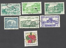 LEBANON - SCOTT's # 116, 219, 232, 233, 242, 255 AND C666 - USED STAMPS