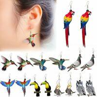 Hummingbird Birds Parrot Animals Earrings Stud Hook Drop Dangle Women Fashion