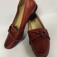 L.L. Bean Womens Shoes Loafers Slip On Leather Red Handsewn ODVB3 Size 9