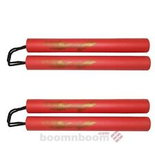 New Foam Padded Nunchucks Dragon Pattern 2 pc Set Nunchakus w/Nylon Cord-RED 11""