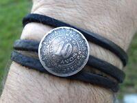 Black Buffalo leather wrap bracelet authentic 1946 Aztec calendar Mexican coin
