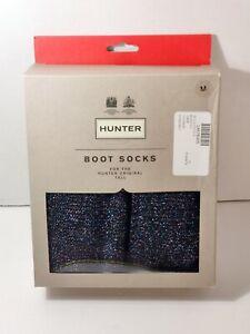 Hunter Women Black Tall Glitter Cuff Knee High Boot Socks Size M