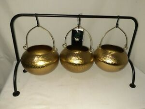 Halloween 3 Brass Tone Cauldron Basket With Wrought Iron Stand Party Prop