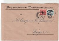 Germany 1922  Wachenheim Cancel Official Stamps Cover to Speyer ref 22936