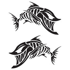 "(2x) 12.5"" Joker Fish Skeleton Decals Stickers Wake Fishing Bass Boat Tackle PWC"