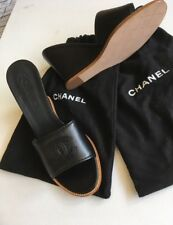 Authentic Chanel en cuir compensées mules