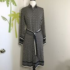 H&M Chain Links Long Sleeve Belted Button Down Front Dress Sz 2