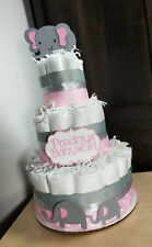 3 Tier Diaper Cake - Pink Elephant Theme Diaper Cake Girl Diaper Cake
