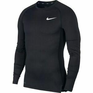 Nike Mens Long Sleeve Compression Shirts T-Shirt Dri Fit TShirt Crew Tops Black