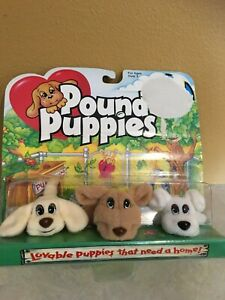 Pound  puppies Galoob New in package- set 3 - 2 inch c. 1995 NOS