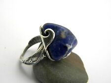 Sodalite ring in sterling silver large blue stone free form bohemian ring size 7