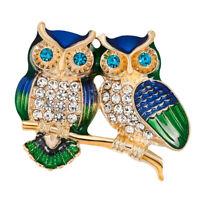Fashion Gold-Tone Crystal Green Enamel 2 Owls Bird Lovers Animal Brooch Pin