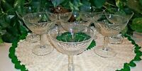 Set of 8 crystal champagne/wine glasses Star Burst Stem Ware