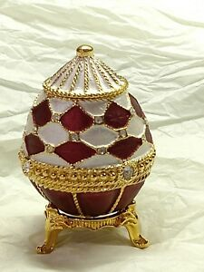 RUCINNI Burgundy & White JEWELED EGG EASTER TRINKET BOX WITH CRYSTALS