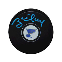 Brett Hull Autographed St. Louis Blues Blue Signature Hockey Puck (JSA)