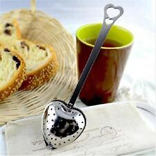 Stainless Steel Heart Shaped Tea Infuser Strainer Filter Herb Steeper Hook SGB