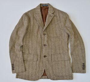 """New Polo Ralph Lauren Men""""s Linen/Silk/Wool Herringbone Blazer Jacket Sport Coat"""
