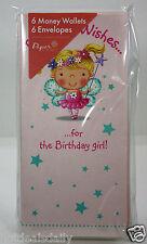 6PK MONEY HOLDER BEST WISHES BIRTHDAY GREETING CARDS ENVELOPES WALLETS NIP GIRL