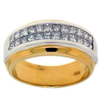 1.10ctw UNISEX PRINCESS DIAMOND BAND 18K TWO-TONED GOLD