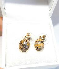 British Hallmarked 9k Yellow Gold Leopard Jasper Dangle Pierced Earrings LJ & Co