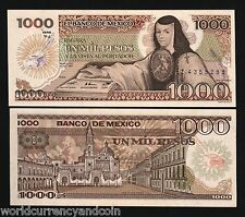 MEXICO 1000 PESOS P85 1985 J.D.ASBAJE UNC CURRENCY MONEY BILL LATINO BANK NOTE