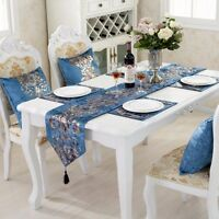 Shiny Silk Damask Tassel Table Runner Cloth Mat Pillow Case Home Bed Party Decor