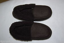Mens BLACK SLIPPERS Sherpa Lined SUPER SOFT CUSHION Rubber Sole M 8-9