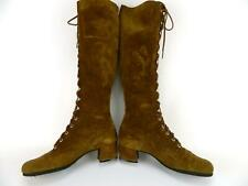 Vtg Hand Made Brown Suede Leather Lace Up Granny Boho Hippie GoGo Boots 7.5-8