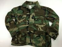 VTG US ARMY WOODLAND CAMO FATIGUE BLOUSE COAT SIZE MEDIUM SHORT