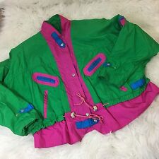 Womens Vintage Ski Jacket 80's Retro Neon Medium Green Pink Coat Throwback 90's