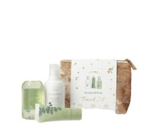 Thymes Eucalyptus Travel Set With Bag - Hand Creme, Body Wash, Lotion New
