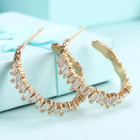 2 1/10 ct White Crystals Hoop Earrings with in 18K Gold Plated